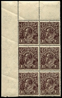 Lot 1010:1½d Black-Brown Die I BW #84(3)d,ea corner block of 6 [3L1-2,7-8,13-14] unit 1 Retouched NW corner & unit 8 White flaw in left border, opposite foot of kangaroo, and white flaw under H of HALFPENCE - state II - additional white flaw in left border, other platable varieties on units 2,7 & 14, Cat $90++.
