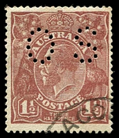 Lot 208:1½d Red-Brown Die I - BW #87b(11)i [11R3] perf 'OS' Retouched right upper frame, Cat $325 just for the 'OS'.