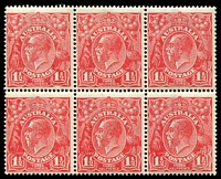 Lot 1864:1½d Red Die I - BW #89(24)ia,j [24R8-10,14-16] block of 6, unit 8 Retouch below right value tablet (added metal repair) - State II, & unit 16 White flaw on kangaroo's leg unit 9 hinged, Cat $85++.