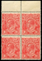 Lot 1526:1½d Red Die I - BW #89(16)d,e marginal block of 4 [16L1-2,7-8] unit 1 Cut lower frame, unit 7 eight wattles at left, Cat $80+.