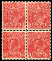 Lot 1527:1½d Red Die I - BW #89(16)d,e block of 4 [16L1-2,7-8] unit 1 Cut lower frame, unit 7 eight wattles at left - ACCC State II - white flaw right of THREE, unit 8 is also ACCC state II, Cat $80+.