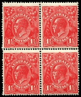 Lot 306:1½d Red Die I - BW #89(16)h block of 4 [16L49-50,55-56] unit 56 with Retouched GE and shading, Cat $45++.