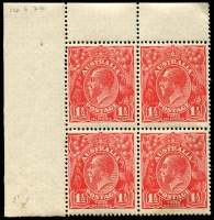 Lot 1626:1½d Red Die I - BW #89(18)d,3 block of 4 [18L1-2,7-8] unit 1 White spot in right wattles, unit 8 Accent on 2nd E of THREE, some gum defects, Cat $80++.
