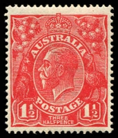 Lot 1494:1½d Red Die I - [18R24] Front point of 2 in RVT extends downwards - ACCC State I.