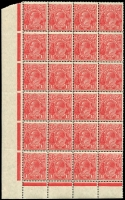 Lot 2700:1½d Red Die II - Plate 3 BLC block of 24 on translucent paper, hinged in margin only. This paper not catalogued for perf 13½x12½. Rare.