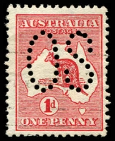 Lot 739:1d Red Die I BW #2ba, perf large 'OS, Cat $10.