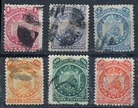 Lot 3374:1890-91 11 Stars New Colours SG #50-5 1c to 50c, Cat £11. (6)