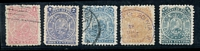 Lot 3375:1893 11 Stars Lithographed SG #57-61 1c to 20c, all appear to be forgeries. (5)
