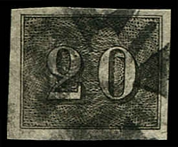 Lot 19440 [3 of 3]:1850 Upright Numerals Greyish Paper SG #18B,21B,23B 20r, 90r & 300r, all 4 margins, Cat £168.
