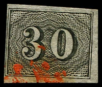 Lot 19439 [2 of 3]:1850 Upright Numerals Yellowish Paper SG #17A,19A,20A 10r, 30r & 60r, all 4 margins, Cat £44.