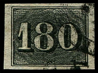 Lot 19442:1850 Upright Numerals Yellowish Paper SG #22A 180r, 4 good margins, Cat £60.