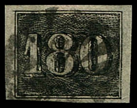 Lot 19441:1850 Upright Numerals Yellowish Paper SG #22A 180r, 4 good margins, Cat £60.