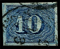 Lot 20362 [2 of 2]:1854-61 Upright Numerals New Colours Greyish Paper SG #29a,29b 10r blue & 10r deep blue, both 4 margins, Cat £28.