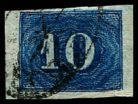Lot 3161 [1 of 2]:1854-61 Upright Numerals New Colours Greyish Paper SG #29a,29b 10r blue & 10r deep blue, both 4 margins, Cat £28.