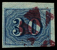 Lot 20363:1854-61 Upright Numerals New Colours Greyish Paper SG #30a 30r blue, 4 margins, Cat £55.