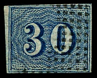 Lot 3384:1854-61 Upright Numerals New Colours Greyish Paper SG #30a 30r blue, 4 margins (2 close), Cat £55.