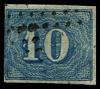 Lot 19443 [2 of 3]:1854-61 Upright Numerals New Colours Yellowish Paper SG #25 10r pale blue x3 (shades), all 4 margins (one close), Cat £39.