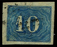 Lot 19443 [3 of 3]:1854-61 Upright Numerals New Colours Yellowish Paper SG #25 10r pale blue x3 (shades), all 4 margins (one close), Cat £39.