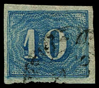 Lot 19443 [1 of 3]:1854-61 Upright Numerals New Colours Yellowish Paper SG #25 10r pale blue x3 (shades), all 4 margins (one close), Cat £39.