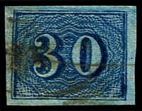 Lot 19444 [2 of 2]:1854-61 Upright Numerals New Colours Yellowish Paper SG #26,26b 30r pale blue & 30r deep blue, all 4 margins, Cat £110.