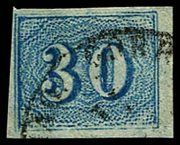 Lot 3550 [1 of 2]:1854-61 Upright Numerals New Colours Yellowish Paper SG #26,26b 30r pale blue & 30r deep blue, all 4 margins, Cat £110.