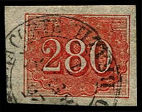 Lot 20359:1854-61 Upright Numerals New Colours Yellowish Paper SG #27 280r vermilion, 4 margins, Cat £110.