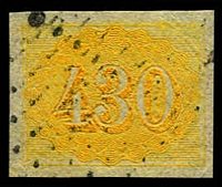 Lot 20361:1854-61 Upright Numerals New Colours Yellowish Paper SG #28 430r yellow, 4 margins, Cat £150.