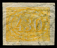 Lot 3383:1854-61 Upright Numerals New Colours Yellowish Paper SG #28 430r yellow, forgery