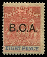 Lot 20075:1891-95 B.C.A. on Rhodesia SG #6a, 8d red & ultramarine, Cat £42.