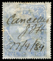 Lot 3441 [1 of 2]:1876 Revenue New Colours wmk Crown/CC: 6d brown/yellow, 2/- rose & 5/- blue, 6d P14, others P15½x15.