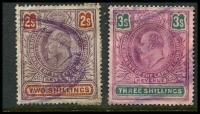 Lot 3442 [3 of 3]:1903 Revenue KEVII: 1d, 6d x2, 1/- x3, 2/- & 3/- x2, generally good condition. (9)