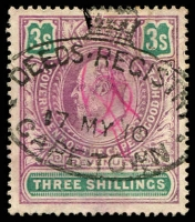 Lot 3442 [1 of 3]:1903 Revenue KEVII: 1d, 6d x2, 1/- x3, 2/- & 3/- x2, generally good condition. (9)