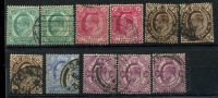 Lot 3440 [2 of 2]:1902-04 KEVII SG #70-77 ½d to 1/- with 2 copies of everything only one 2½d and 2d x3 & 3d x3, Cat £15. (17)