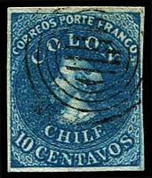 Lot 17794:1854 Columbus Recess SG #15 10c blue, 4 margins, Cat £110. Attractive