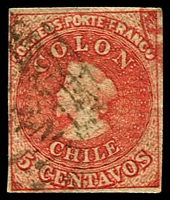 Lot 17799:1855-65 Santiago Printings Wmk Sloping 5 SG #19 5c red, 4 margins.