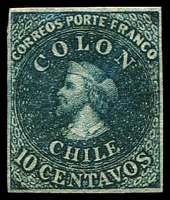 Lot 17801:1856-62 Columbus Recess SG #26 10c greenish blue, 4 margins, MNG, Cat £275