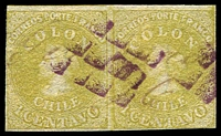 Lot 3460:1861-62 Columbus Wmk Tall Numbers SG #30 1c lemon-yellow pair 4 margins (1 touching), Cat £54+.