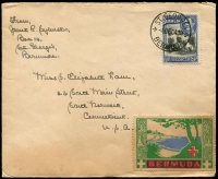 Lot 54:Bermuda: green, red & blue Red Cross label on 1941 cover from Bermuda to USA, light stain at base affects label.