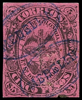 Lot 3631:1873 SG #18 5p black/rose 4-margins, minor surface abrasion, blue 'MEDELlIN' cancel, Cat £75.