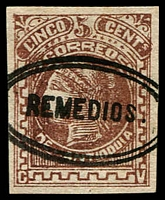 Lot 18818:1883-85 New Designs & Colours Wove Paper SG #53 5c brown 4-margins, 'REMEDIOS.' cancel.