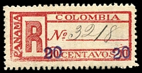 Lot 3475:1902 Surcharge: SG #R31 20c on 10c with Crack through frame and C of Colombia, MNG, Cat £25. (3)
