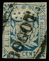 Lot 3470:1863 United States of Colombia SG #27 10c pale blue 4-margins, Bogota oval cancel, Cat £14.50.