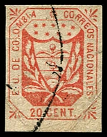 Lot 3627 [1 of 2]:1863 United States of Colombia different forgeries of 5c yellow & 20c red.