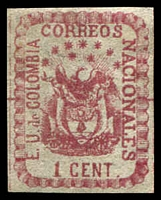 Lot 20245:1865 United States of Colombia SG #31a 1c rose on pelure paper, Cat £27