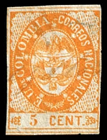 Lot 3355:1865 United States of Colombia SG #33 5c orange, 4 margins (2 close), pen cancel, Cat £19