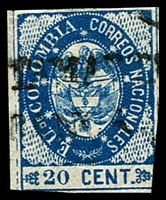Lot 20248:1865 United States of Colombia SG #35 20c blue, 2½ margins, oval cancel, Cat £19
