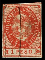 Lot 3473:1865 United States of Colombia SG #38 1p vermilion, 4 margins, pen cancel, Cat £17