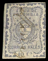 Lot 3356:1866 United States of Colombia SG #45 10c lilac, 4 margins 2 close or touching, pen cancel.