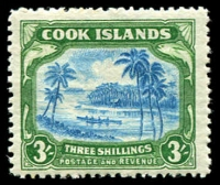 Lot 3479:1944-46 Wmk Mult NZ/Star SG #145 3/- greenish blue & green, Cat £42.