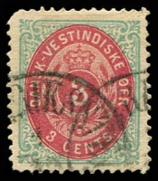 Lot 19096:1873-1902 Bi-Colours Perf 14x13½ SG #15, 3c dull brown-red & turquoise-green, rounded corner, Frederikssted? cancel, Cat £24.